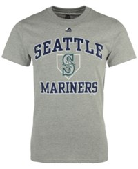 Majestic Men's Seattle Mariners Hit And Run T Shirt Gray Teal