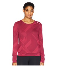 Brooks Array Long Sleeve Shirt Plum Eclipse Jacquard Long Sleeve Pullover Red