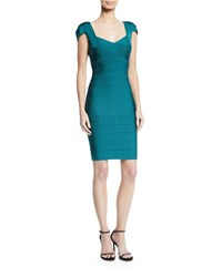 Herve Leger Cap Sleeve Knee Length Bandage Dress Teal