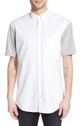 Men's Zanerobe 'Box Seven Foot' Longline Short Sleeve Woven Shirt White Grey Marl