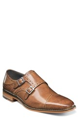 Stacy Adams Tayton Cap Toe Double Strap Monk Shoe Tan Leather