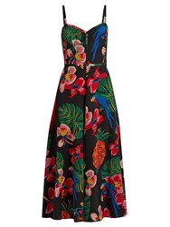 Valentino Tropical Dream Print Silk Crepe De Chine Dress Black Multi