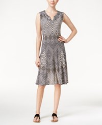 Jm Collection Printed Split Neck Dress Only At Macy's Black Nude