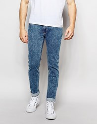 Bellfield Acid Wash Skinny Fit Stretch Jeans Blue