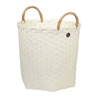 Handed By Dimensional Round Basket With Rattan Handles Ecru White