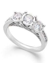 Trumiracle Three Stone Diamond Ring In 14K White Gold 1 Ct. T.W.