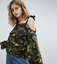 Milk It Vintage Off Shoulder Camo Shirt With Velvet Ties Green