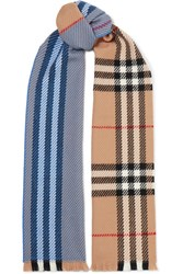 Burberry Checked Wool Scarf Blue