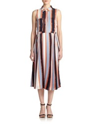Elle Sasson Lucky Silk Striped Dress Stripes