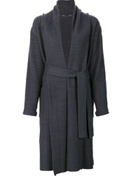 Denis Colomb Waist Tie Wrap Coat Grey