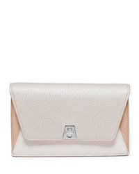 Anouk Leather Clutch Bag W Chain White Silver Multi White Multi Akris