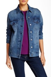 Abs By Allen Schwartz Oversized Denim Jacket Blue