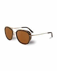 Vuarnet Edge Rectangular Aviator Polarized Sunglasses Tortoiseshell Gold Medium Brown
