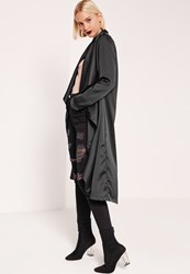 Missguided Satin Waterfall Duster Jacket Black