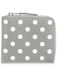 Comme Des Garcons Wallet Polka Dots Purse Unisex Leather One Size Grey