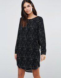 Ichi Long Sleeve Printed Dress Black