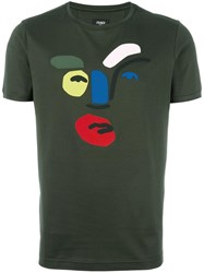 Fendi Abstract Face T Shirt Green