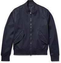 Aspesi Wool Flannel Bomber Jacket Midnight Blue