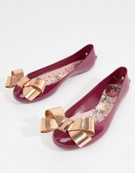 210623c160cea1 Ted Baker Maroon Bow Detail Ballet Shoes Red