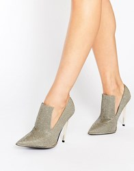 Office Splash High Vamp Glitter Heeled Shoes Pewter Glitter Silver