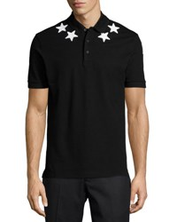 Givenchy Cuban Star Print Polo Shirt Black