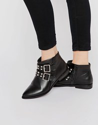 London Rebel Stud Strap Point Ankle Boots Black Pu