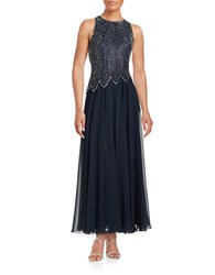 J Kara Petite Beaded Gown Navy