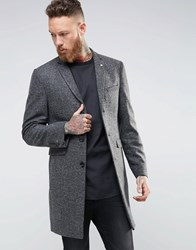 Noose And Monkey Herringbone Overcoat Charcoal Grey