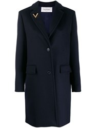 Valentino V Pin Single Breasted Coat Blue