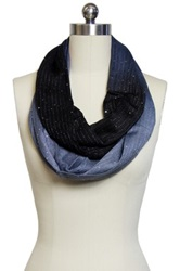 Saachi Navy Grey Sequined Infinity Loop Ombre Scarf Blue