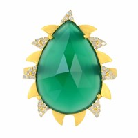 Meghna Jewels Claw Ring Green Onyx And Diamonds