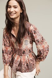Anthropologie Evalona Peplum Blouse Pink