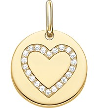 Thomas Sabo Love Coin Engravable Gold Plated Sterling Silver Heart Pendant