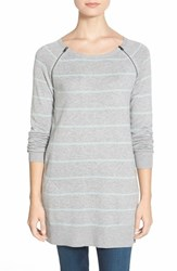 Petite Women's Caslon Zip Seam Cotton Blend Tunic Sweater Heather Grey Blue Stripe