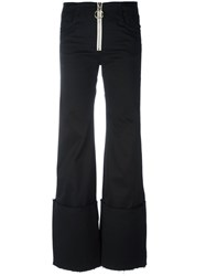 Off White Exaggerated Hem Trousers Black