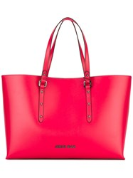 Armani Jeans Logo Plaque Shopping Bag Women Polyurethane One Size Red