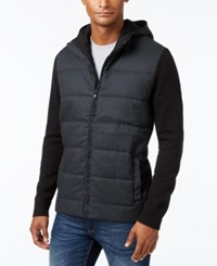 Alfani Men's Multi Textured Hooded Jacket Only At Macy's Deep Black Combo