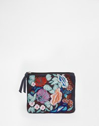 Glamorous Floral Embroidered Pouch Black Multi