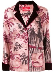 F.R.S For Restless Sleepers Botanical Print Silk Jacket Red