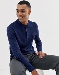 Farah Shackwell Knitted Long Sleeve Polo In Navy