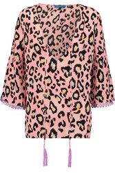 Matthew Williamson Tassled Printed Silk Top Blush