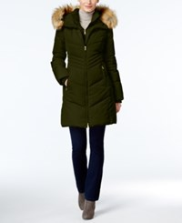 Jones New York Faux Fur Trim Hooded Down Puffer Coat Olive