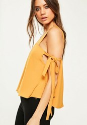 Missguided Yellow Tie Sleeve Strappy Blouse Mustard