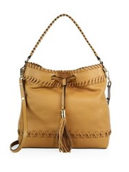 Milly Astor Whipstitch Leather Bucket Bag Caramel Blush