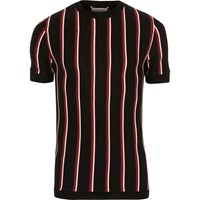 River Island Mens Black And Red Stripe Slim Fit T Shirt