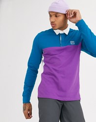 Vans Hi Point Colorblock Rugby Long Sleeved Polo In Black
