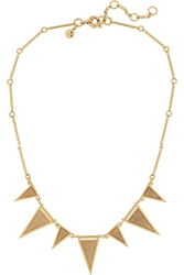 J.Crew Triangle Gold Plated Crystal And Fossilized Coral Necklace
