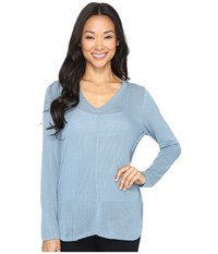 B Collection By Bobeau Alice Long Sleeve Tee Blue Women's T Shirt