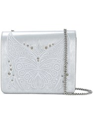 Just Cavalli Embroidered Butterfly Shoulder Bag Metallic