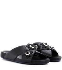 Fendi Embellished Slip On Sandals Black
